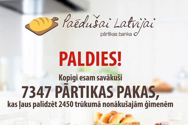 Akcijā Paēdušai Latvijai Rēzeknē saziedots 411 pārtikas pakas